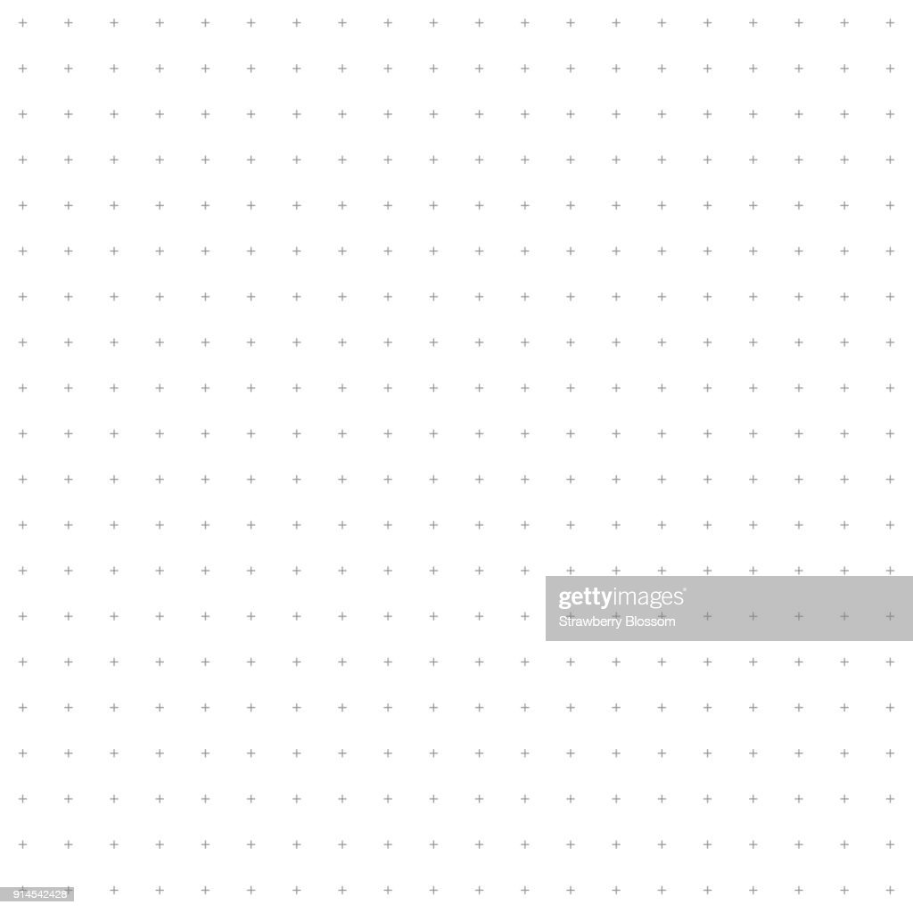 Cross pattern seamless gray and black line on white background. Plus sign abstract background vector.