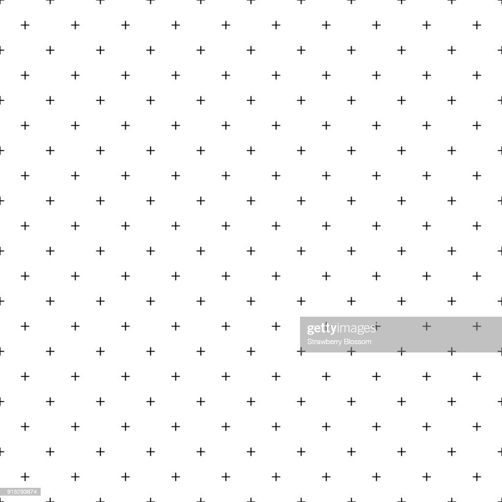 Cross pattern seamless white line on blue background. Plus sign abstract background vector.