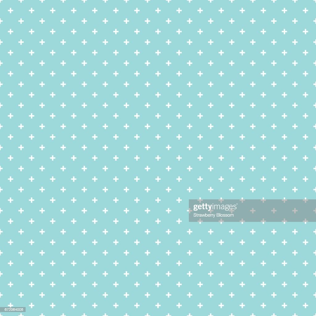 Cross pattern seamless white on green aqua color background. Cross abstract background vector.