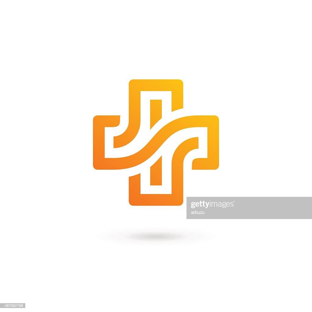 Cross plus medical icon design template elements