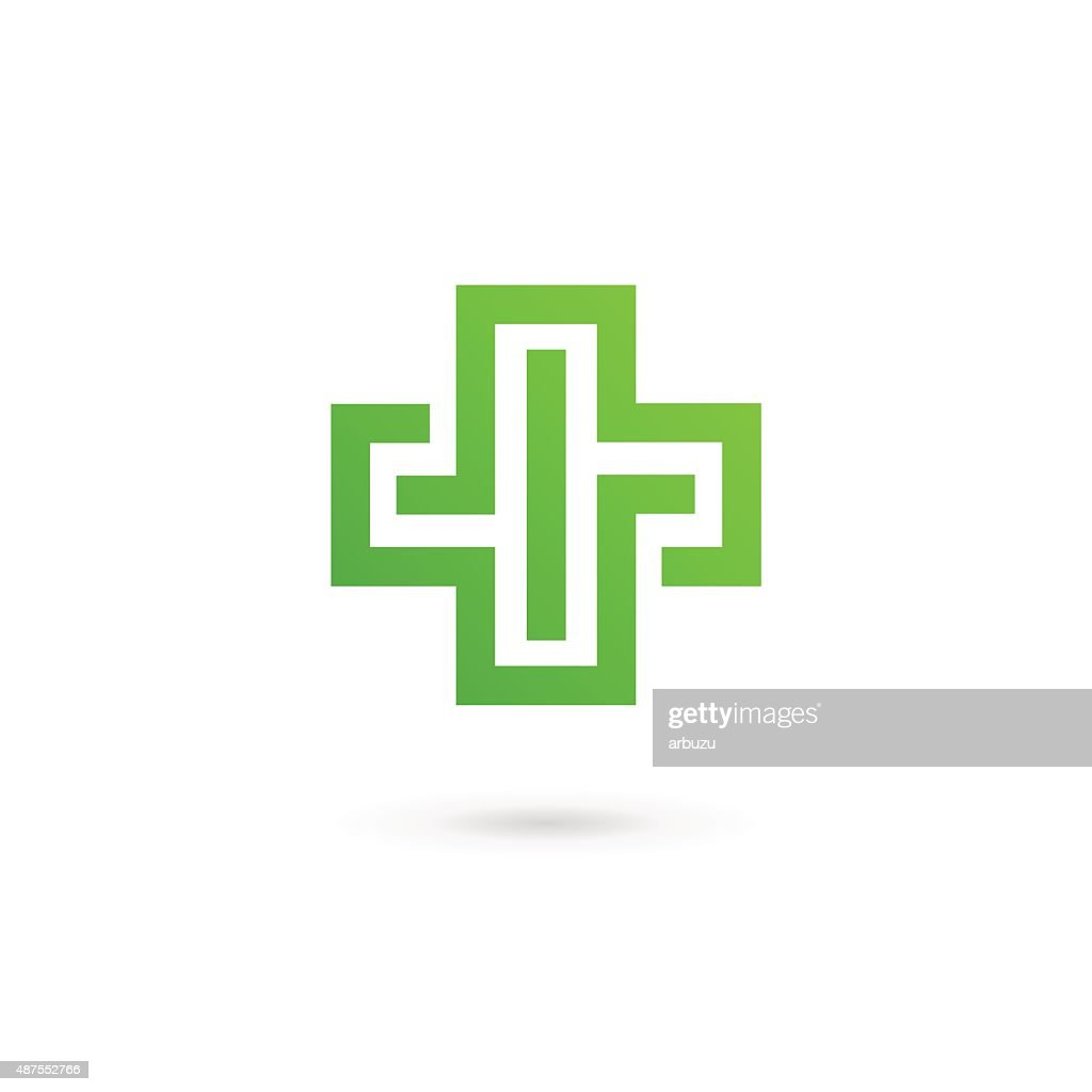 Cross plus medical icon design template elements