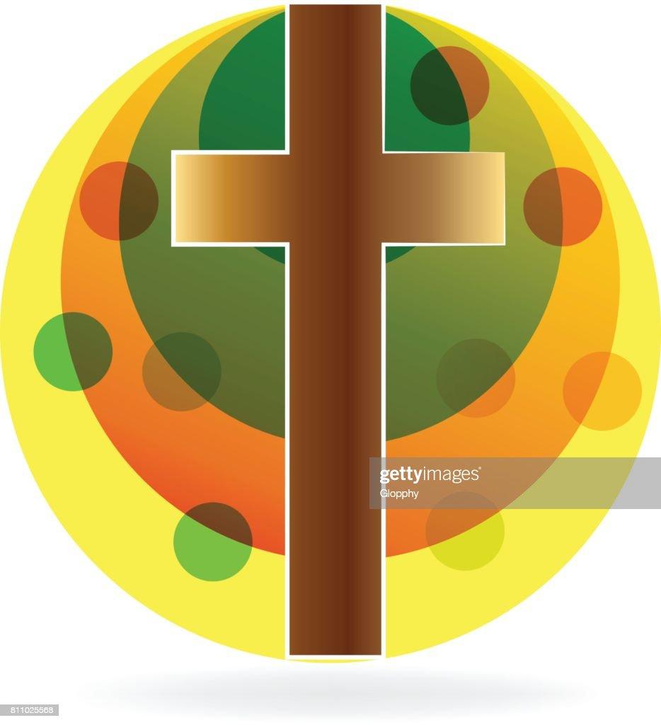 Cross religion symbol icon design