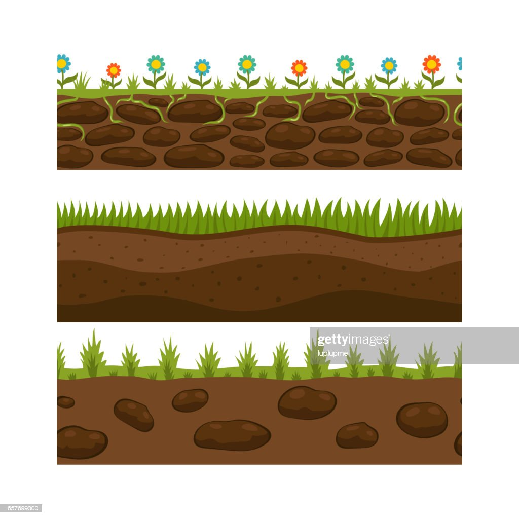 Cross section ground slice isolated grownd piece nature outdoor ecology underground and freestanding render garden natural geologist earth vector illustration