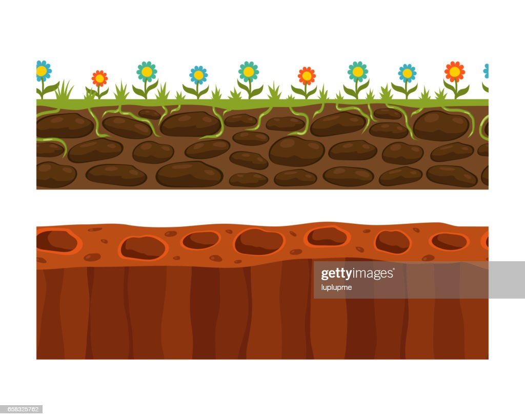 Cross section ground slice isolated some piece nature outdoor ecology underground and freestanding render garden natural geologist earth vector illustration