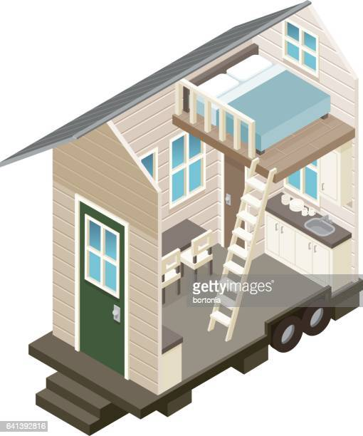 cross section view of a tiny house - loft apartment stock illustrations, clip art, cartoons, & icons
