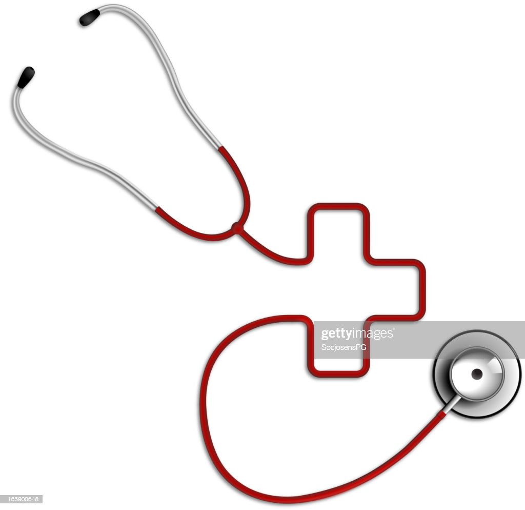 Cross Shaped Stethoscope In Red Color Medical Symbol Vector Art
