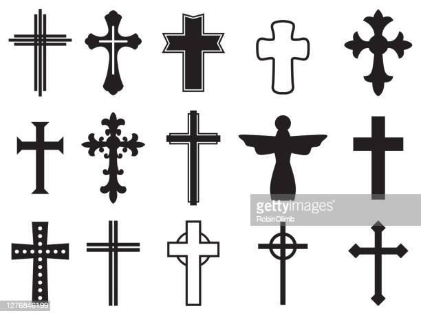 cross silhouettes - cross shape stock illustrations