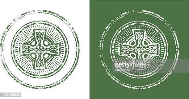 cross stamp - celtic cross stock illustrations, clip art, cartoons, & icons