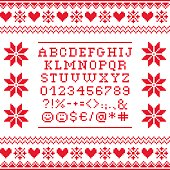 Cross stitch uppercase alphabet with numbers and symbols pattern, embroidery design