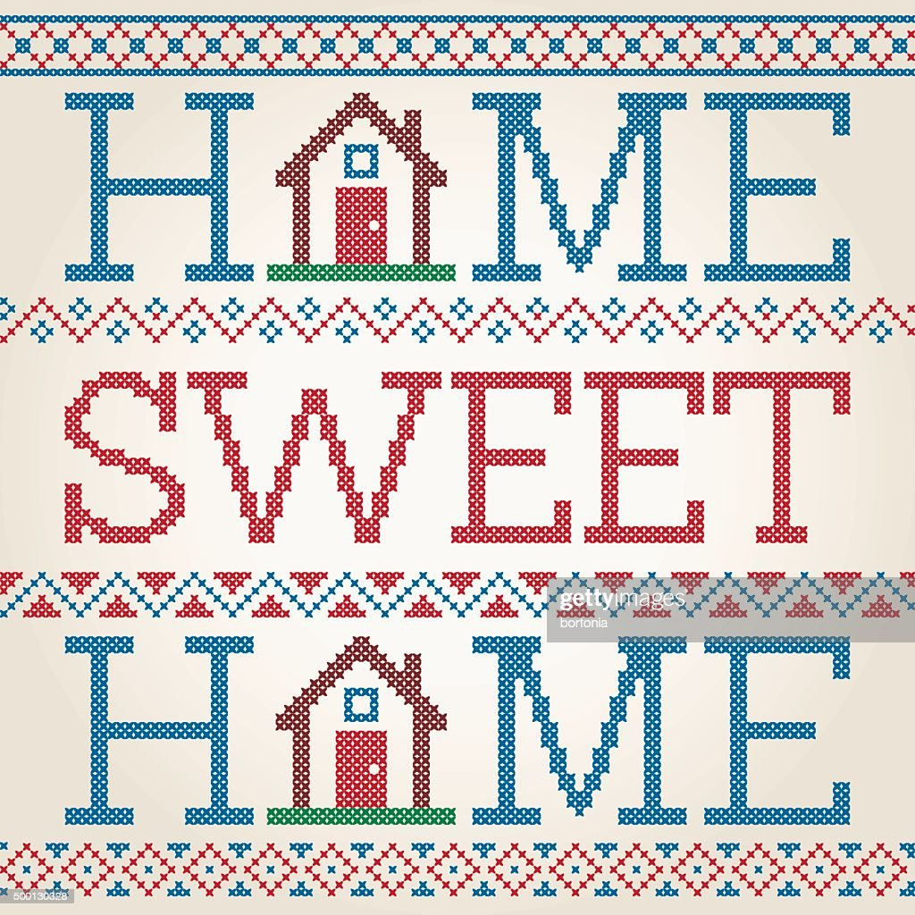 Amazing Cross Stitched Home Sweet Home Decoration With Border Design : Vector Art