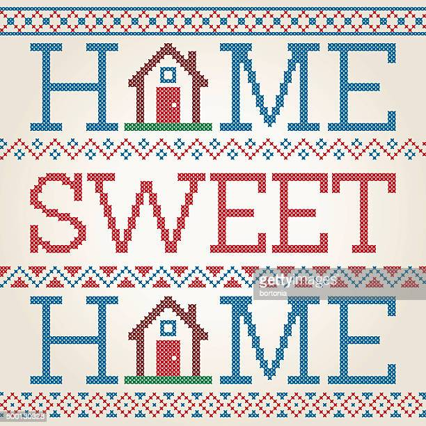 cross stitched home sweet home decoration with border design - embroidery stock illustrations
