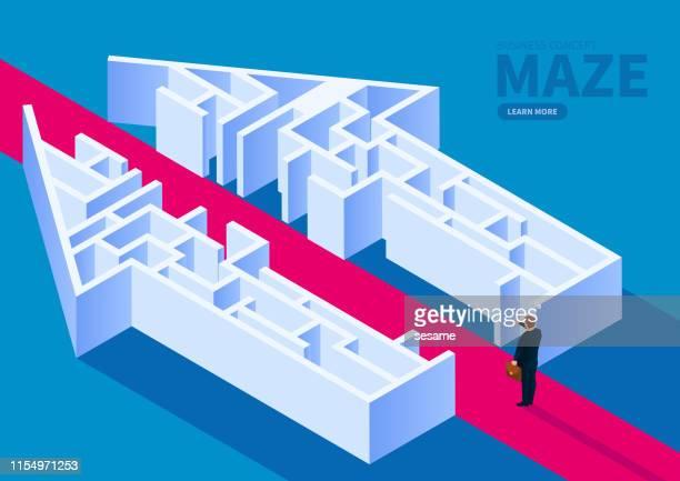 illustrazioni stock, clip art, cartoni animati e icone di tendenza di cross the maze to solve business problems - intrico