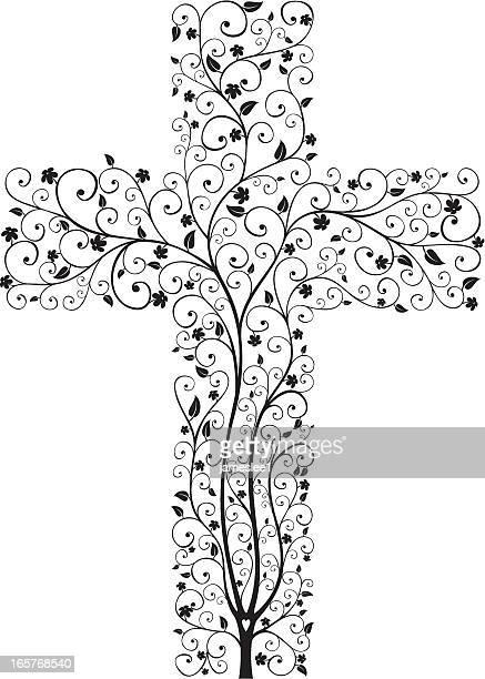 cross tree - crucifix stock illustrations, clip art, cartoons, & icons
