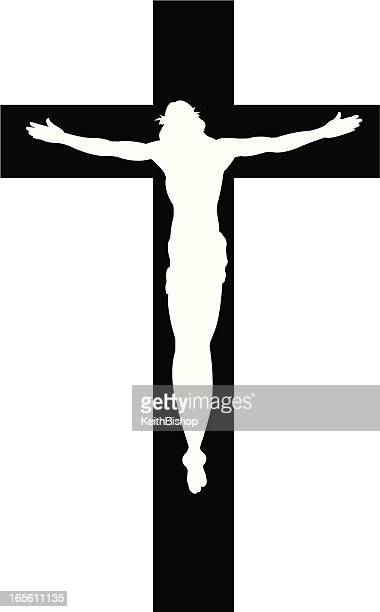 cross with jesus christ cristian religion silhouette - jesus stock illustrations, clip art, cartoons, & icons