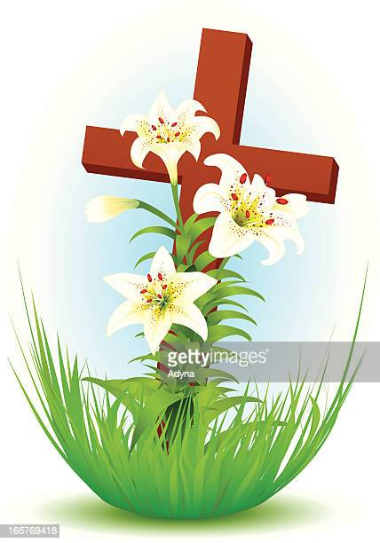 cross with lily - easter lily stock illustrations