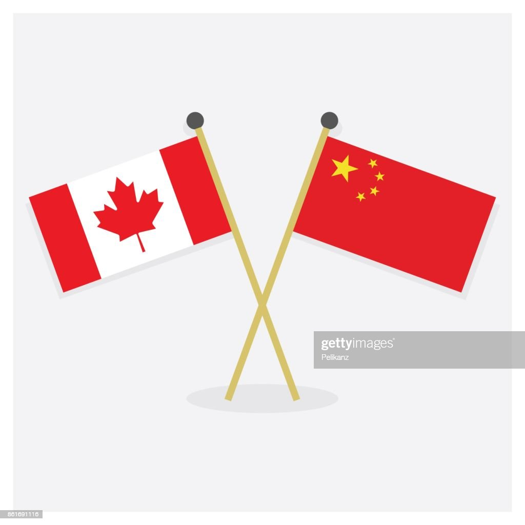 Crossed Canada flag and Republic of China flag icons with shadow on off white background
