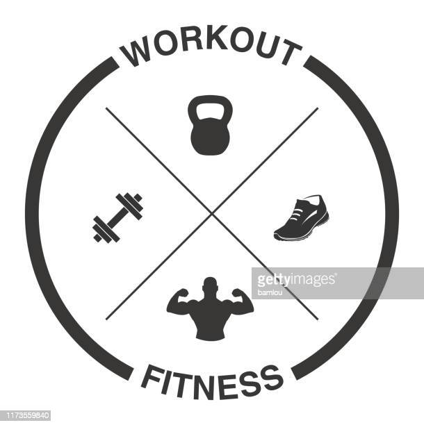 crossed dumbells, kettlebell, shoe and muscles with tagline workout and fitness - weight training stock illustrations