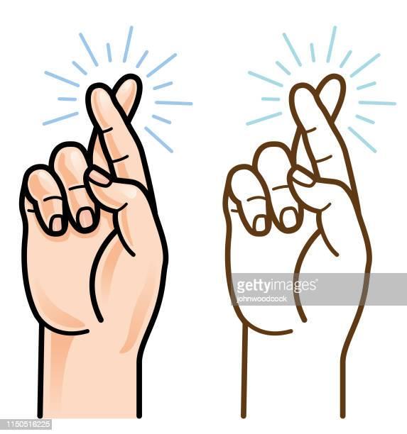 Crossed fingers vector illustration