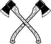 Crossed lumberjack axes isolated on white background. Design element for poster, emblem, sign, banner. Vector illustration