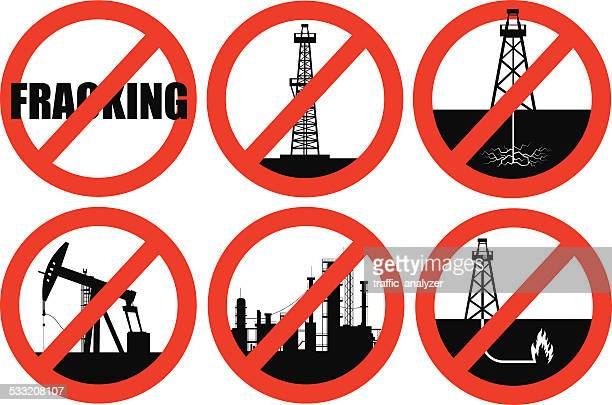crossed out fracking icons - crossed out stock illustrations