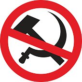 Crossed out symbol of USSR - hammer and sickle