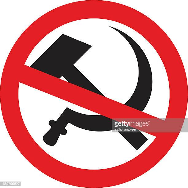 crossed out symbol of ussr - hammer and sickle - crossed out stock illustrations