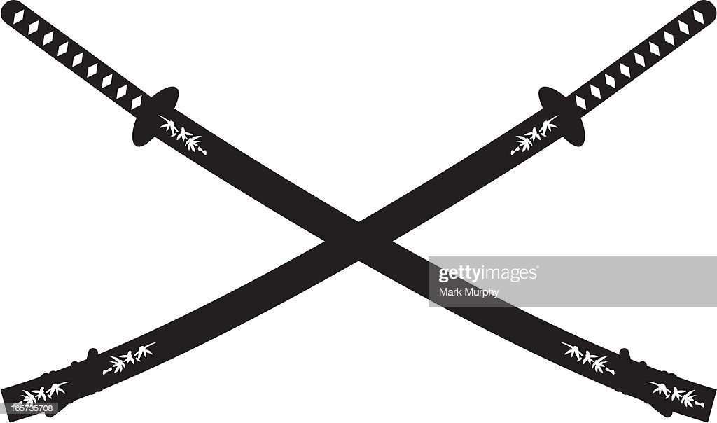 Crossed Samurai Katana Swords