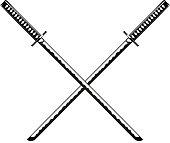 Crossed Samurai Swords isolated on white background Vector