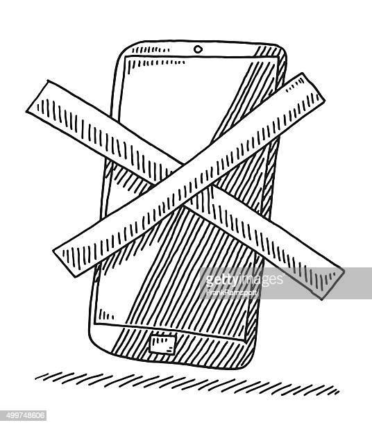 ilustrações de stock, clip art, desenhos animados e ícones de cruzou telefone inteligente desenho - proibido celular