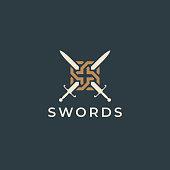 Crossed swords illustration icon. Sword crests. Vector heraldry design.