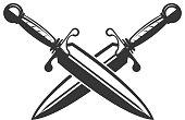 Crossed swords isolated on white background. Design element for label, emblem, sign. Vector illustration