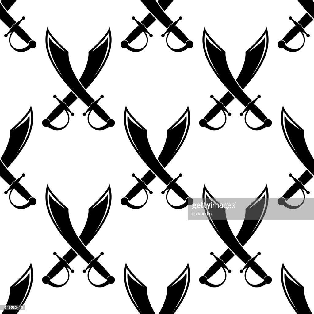 Crossed swords or cutlass seamless pattern