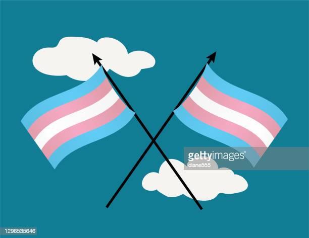 青空の交差したトランスジェンダーの旗 - 旗棒点のイラスト素材/クリップアート素材/マンガ素材/アイコン素材