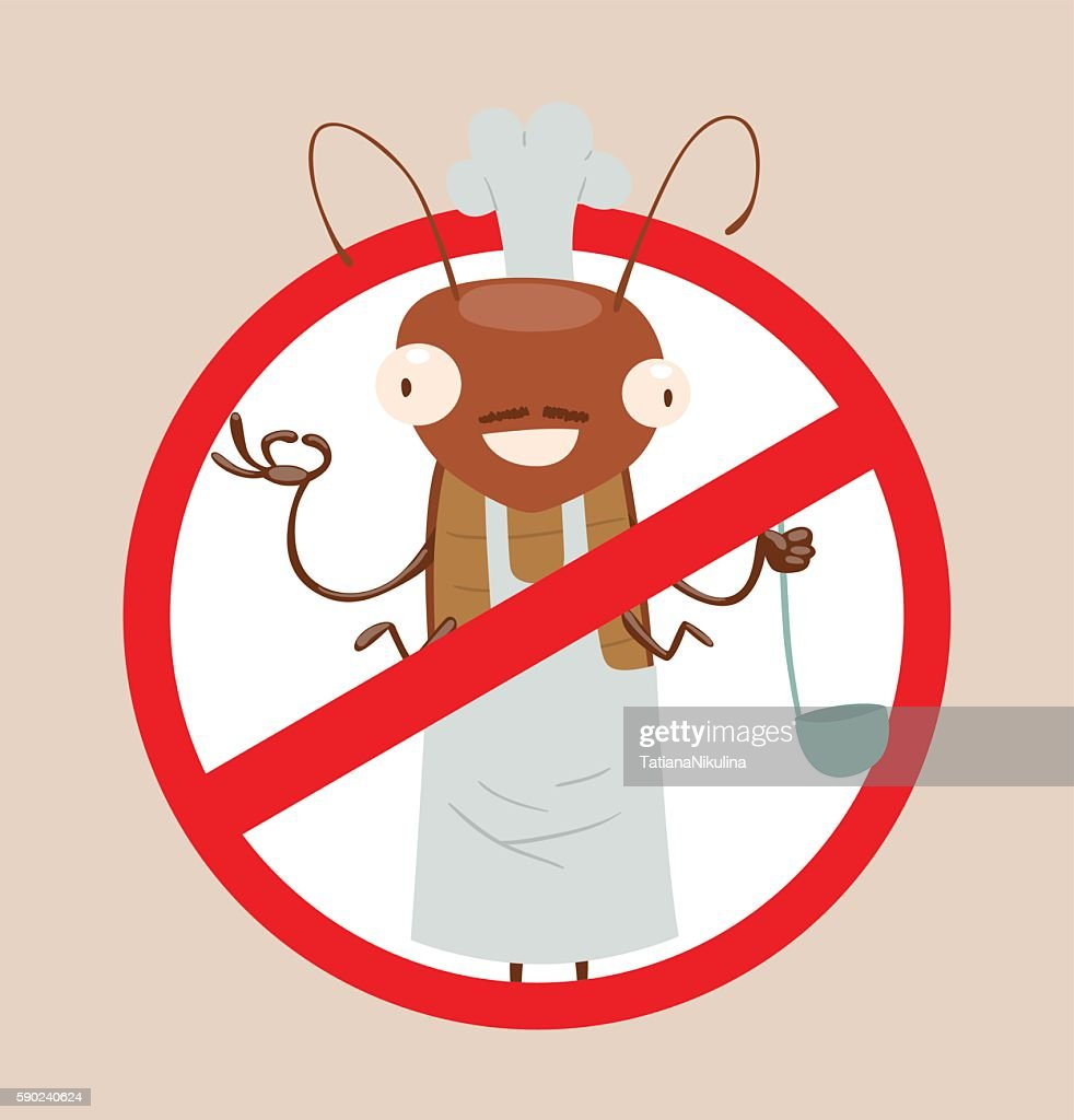 Crossed-out sign, funny brown cockroach in chef's hat