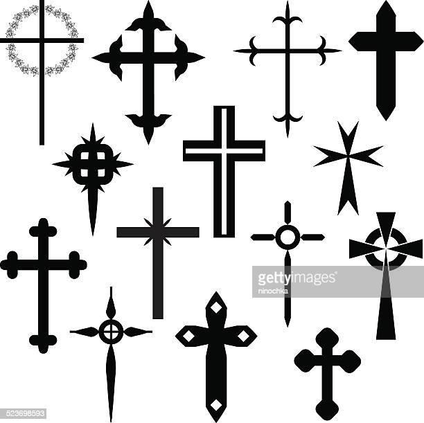 crosses - cross shape stock illustrations, clip art, cartoons, & icons