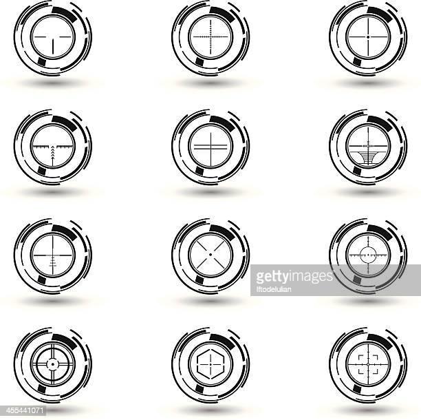 crosshairs set - m14 stock illustrations, clip art, cartoons, & icons
