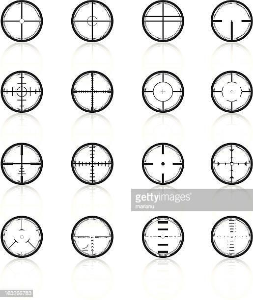 crosshairs set1 - black series - m14 stock illustrations, clip art, cartoons, & icons