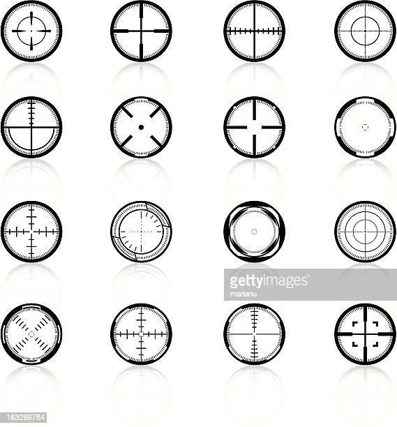 crosshairs set2 - black series - m14 stock illustrations, clip art, cartoons, & icons