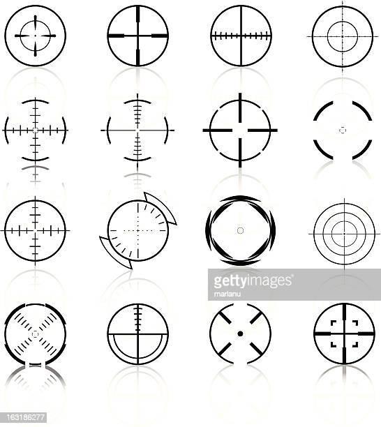 ilustrações de stock, clip art, desenhos animados e ícones de mira set3-black series - objetivo militar