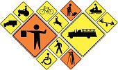 Crossing signs (warning and people at work)