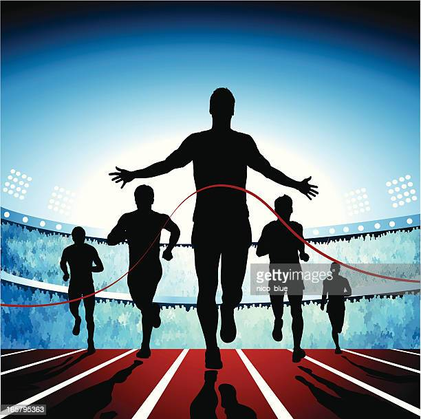 crossing the finish line - track and field stock illustrations, clip art, cartoons, & icons
