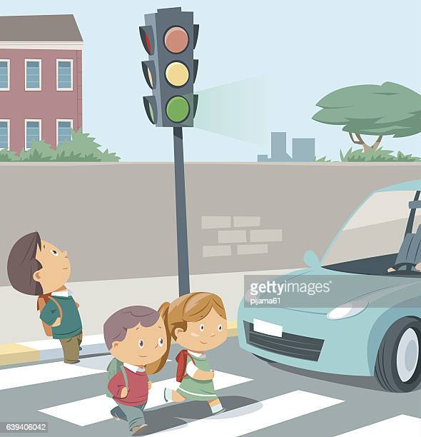 crossing the road. - stoplight stock illustrations