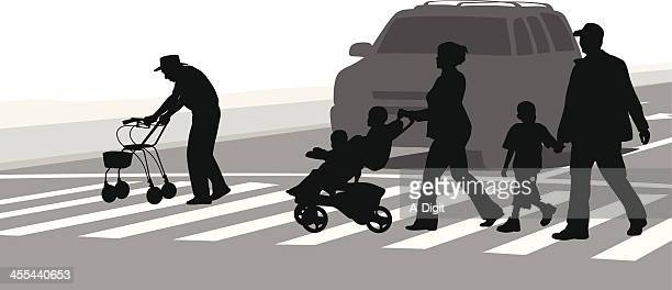 crossing - crossing sign stock illustrations, clip art, cartoons, & icons