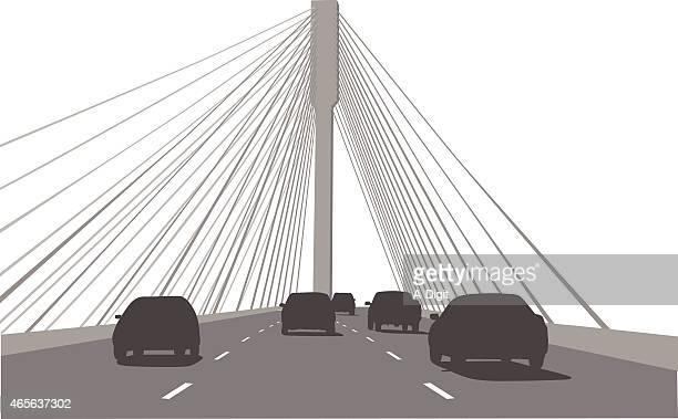 ilustraciones, imágenes clip art, dibujos animados e iconos de stock de crossingthebridge - puente colgante