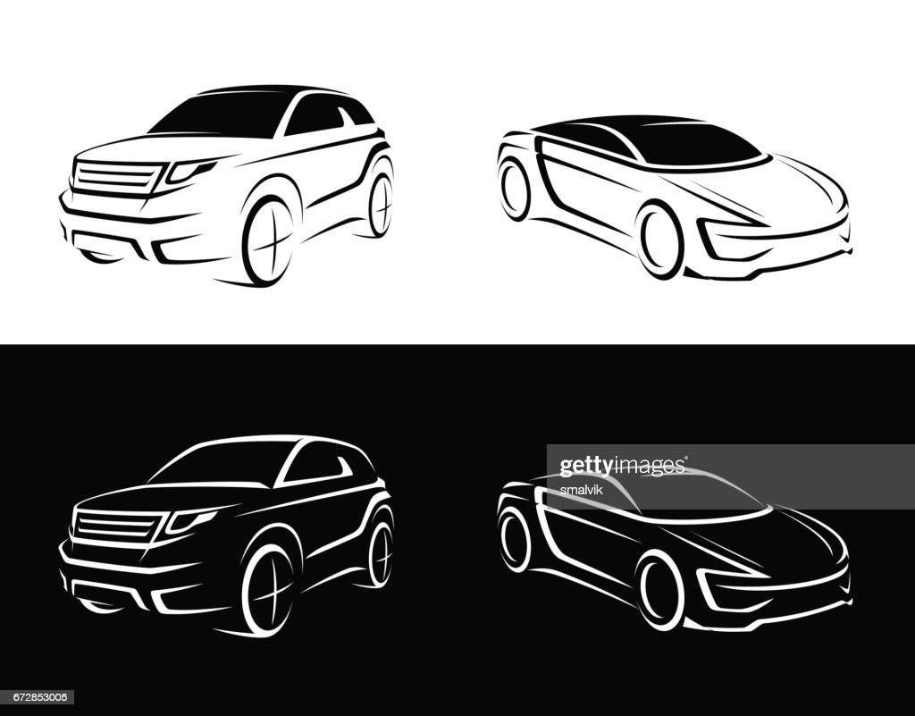 crossover, offroader, sports car sketch