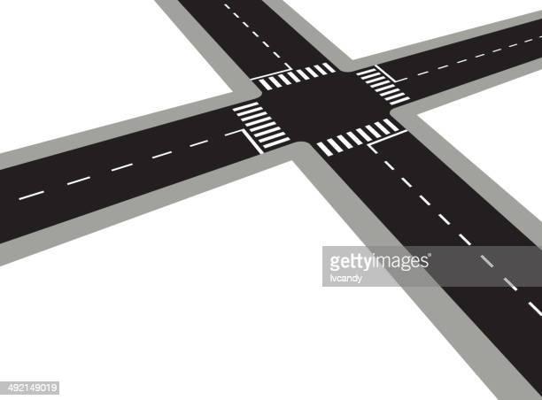 crossroad - road intersection stock illustrations