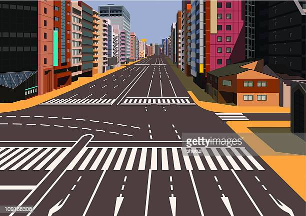 crossroads and sign in city - zebra crossing stock illustrations