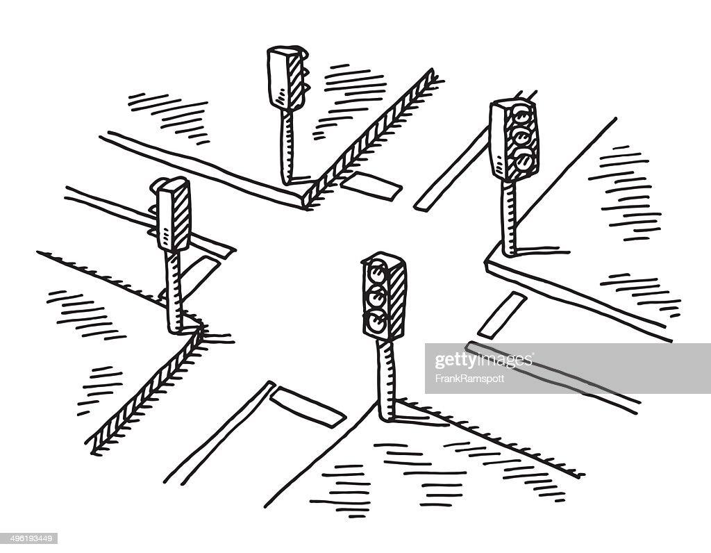 Crossroads Traffic Lights Drawing Vector Art