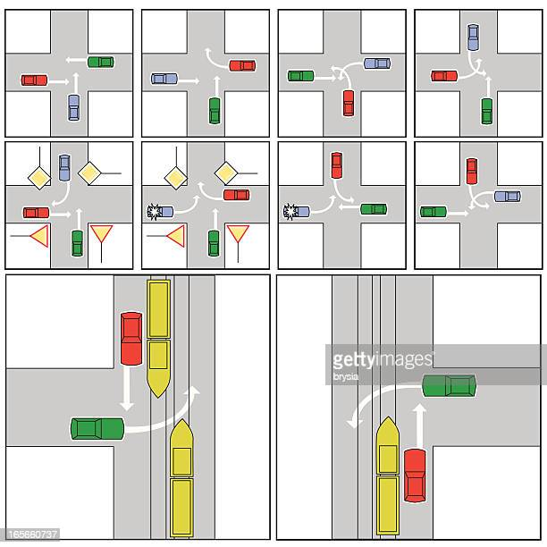 illustrations, cliparts, dessins animés et icônes de crossroads/conduite - permis de conduire