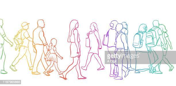 illustrazioni stock, clip art, cartoni animati e icone di tendenza di crosswalk people variety rainbow - large group of people